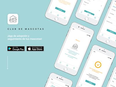 UX/UI Club de Mascotas adoption app pets interface design ui