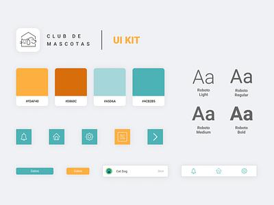 Club de Mascotas UI KIT ui kit ux project minimal design app ui pets interface design app adoption