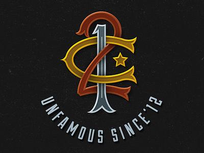 Unfamous Monogram guatemala bronze silver gold letters typography vector monogram
