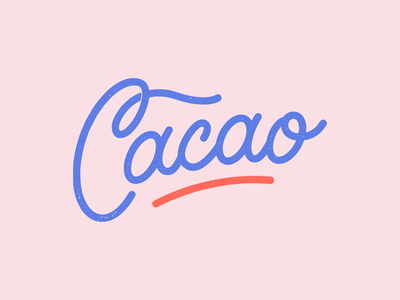Cacao | Rejected branding monoline typography script lettering vector salmon blue pink tropical grunge guatemala cacao brand band logo lettering script