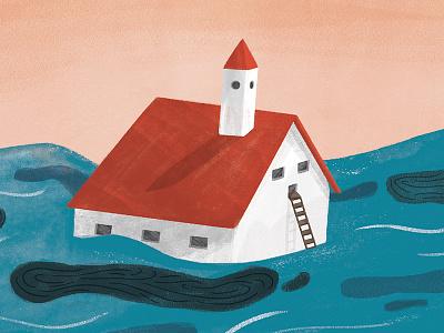 Flood digital house sea editorial illustration