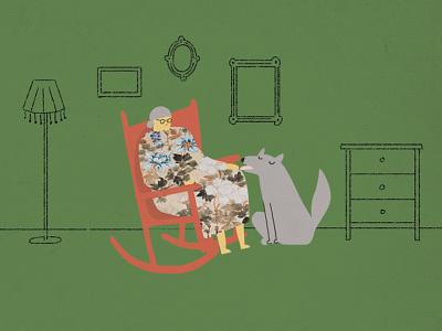 grandma wolf grandmother animation photoshop illustration