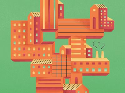 Merging businesses building business magazine photoshop illustration editorial illustration editorial