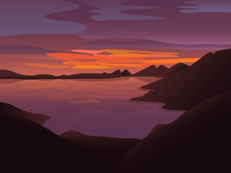 Sunrise sunrise sun lake mountains illustration screens design