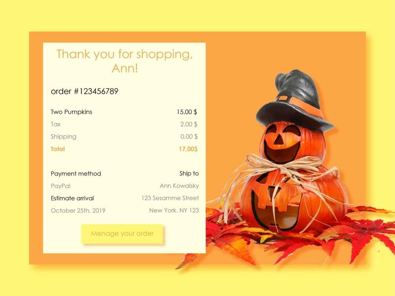 Email Receipt automn leafs pumpkins decorations halloween receipt email app ux uiux daily 100 challenge screens ui design ui design