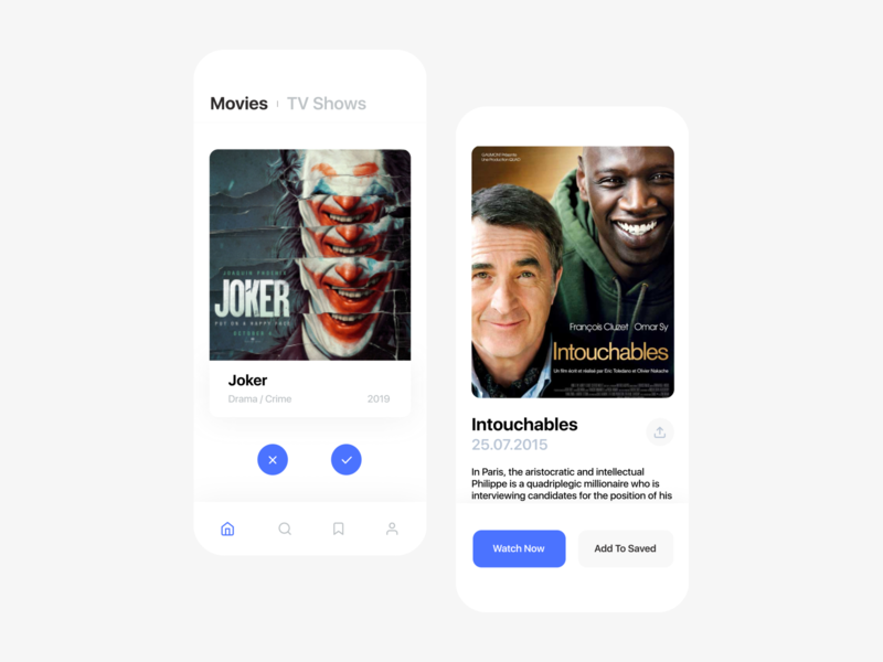 Kino. | Mobile App For Movie Searching search blue movie ios app mobile ui flat figma ux minimal dribbble uidesign design