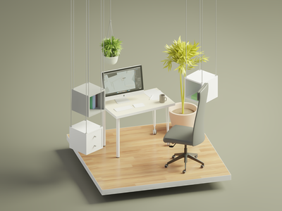 Dribbble Weekly Warm-Up |  A cozy place for self-isolation. 3d room art illustration rebound blender 3d dribbbleweeklywarmup