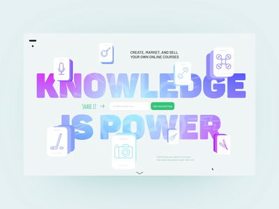 Thinkific | Knowledge is Power animation tilda figma b2b education landing page website rebound web design dribbbleweeklywarmup