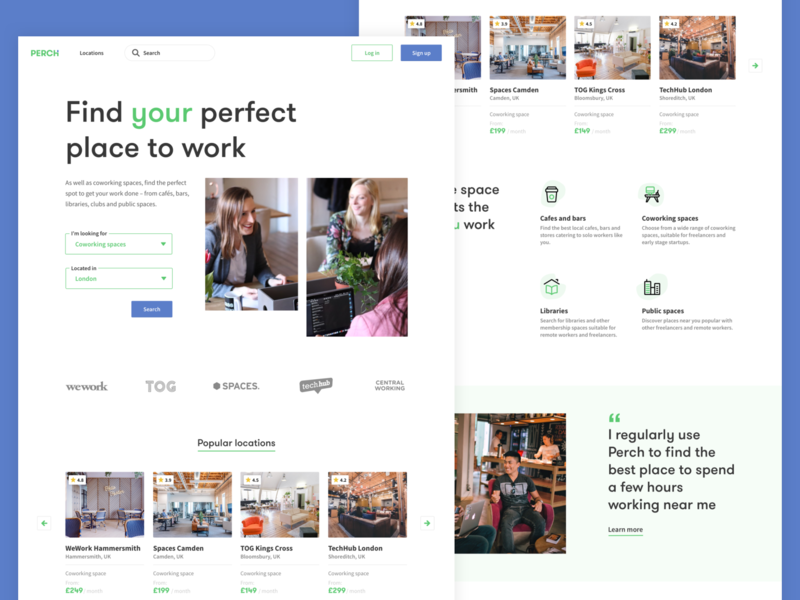 Landing page + Search exploration coworking landing app filter search remote work website sketch