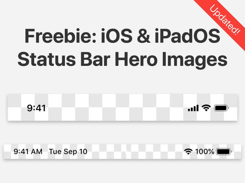 Freebie: iOS & iPadOS Status Bar Hero Images mockups screenshots freebie status bar ipados ios