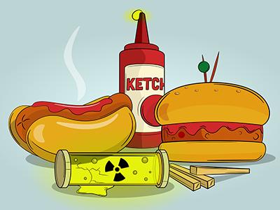Fallout Burger affinity burger chilli hotdog fries chips ketchup food junkfood junk atomis