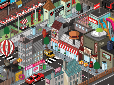 Cityscape affinitydesigner affinity wildish roller coaster town car pixelart pixel city