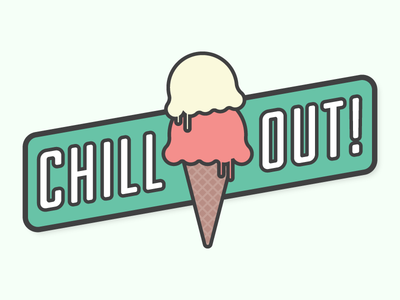 Chill Out! food dessert magnet line icon illustration typography ice cream