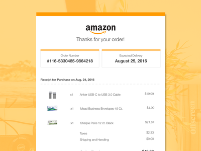 Daily UI #017 - Email Receipt amazon email confirmation confirmation receipt email dailyui daily ui