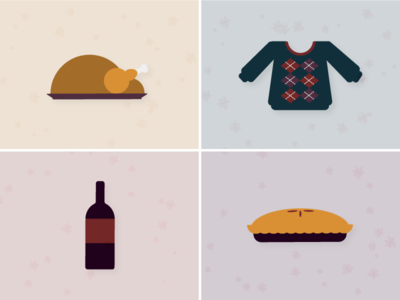 Thanksgiving Dinner food dinner holiday illustration wine pie argyle sweater turkey thanksgiving