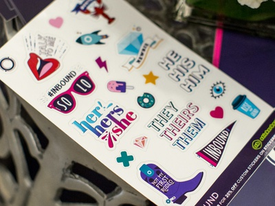 INBOUND Sticker Sheet inbound marketing inbound event swag swag event cowboy boot typography lips sticker sticker sheet