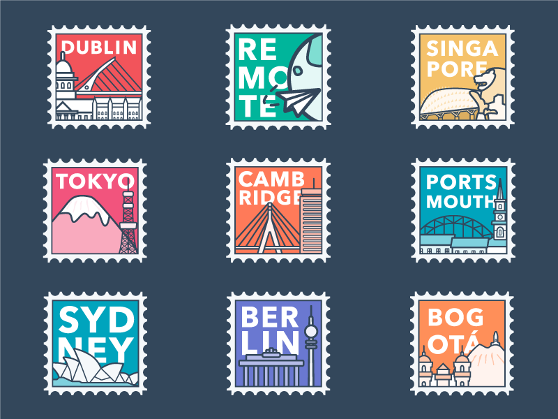 City Postage Stamps office graphic offices cities monochrome postage stamp stamp bogota berlin sydney portsmouth cambridge tokyo singapore dublin typography illustration