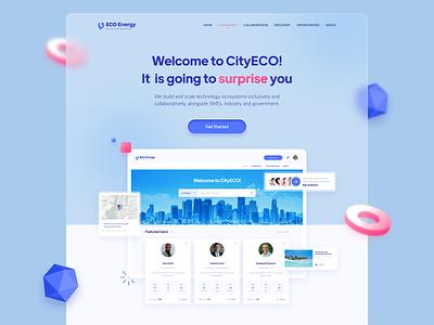 CityECO Energy Platform ⚡ Landing Page 3d adobe photoshop figma app design visual design web site design web site web design landing page user interface ux ui