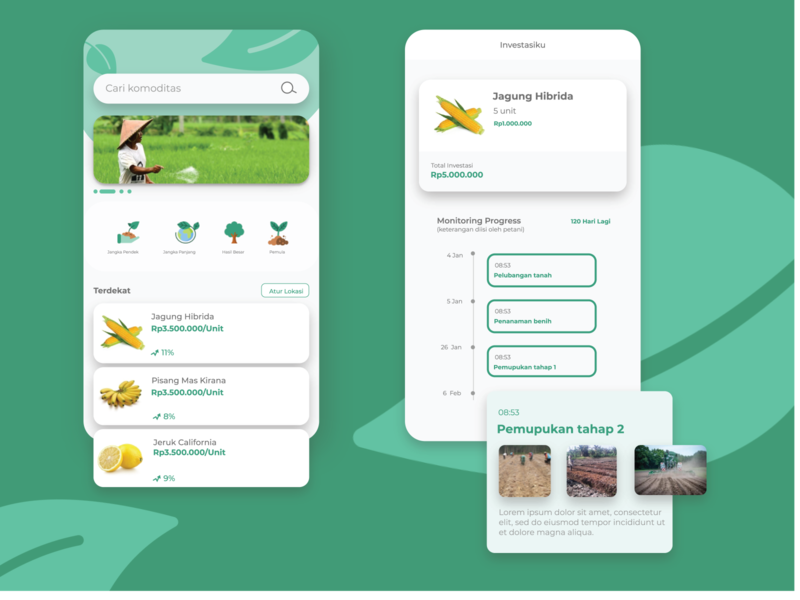 Agricultural Investment Home and Process Screen clean design color simple clean illustrator illustration flat app ui ux design
