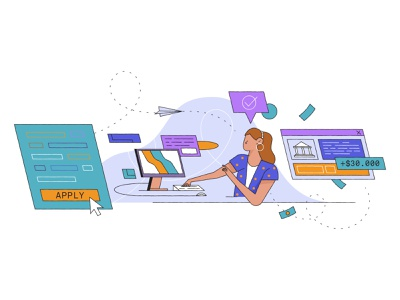 Investment Illustration apply website editorial plane computer investment funding bank character illustration