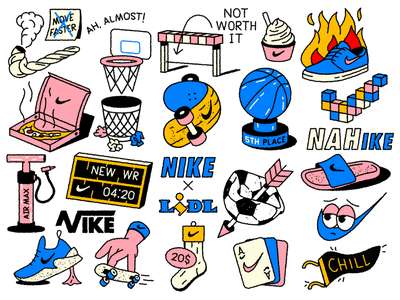 Noike illustration cards nike running soccer basketball weed tattoos chill adidas pizza fire sneakers shoes skateboard lidl doodle basket football sport nike