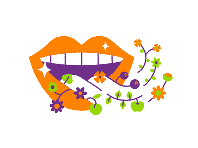 Curaprox Illustration hygiene oral curaprox tongue icondesign icon colorpalette teeth vegetables fruit flavour flowers print illustration editorial brush toothbrush toothpaste lips mouth