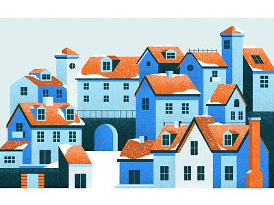 Let it snow! home bridge window roof building village city house snow