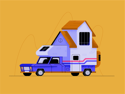 Caravan campervan auto camper home window car vehicle apartment house caravan