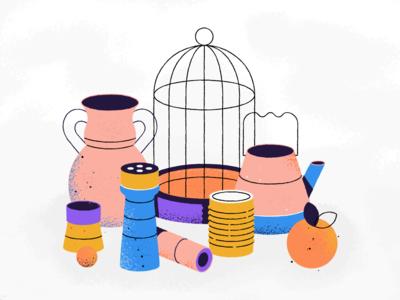 Wired magazine illustration orange fruit cage vase props