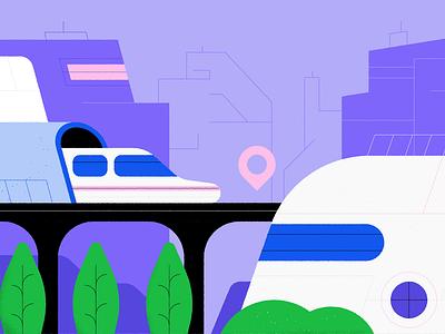 Business week Smart cities building vehicle smartcar transport editorial design smartcity train