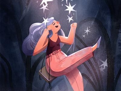 Star Swings characterdesign 2d stars character procreate illustration digitalart texture