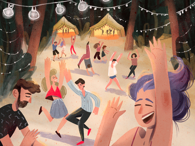 In the Woods party forest texture character procreate. 2d festival dancing illustration