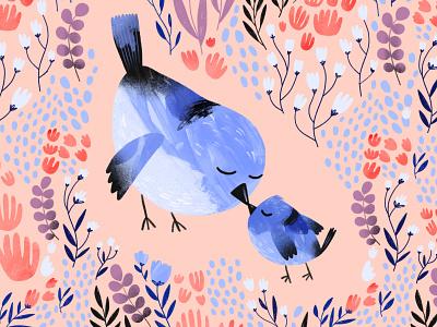 Mama Bird pattern mother birds 2d procreate digitalart characterdesign texture illustration character