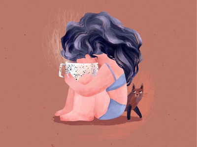 But First, Coffee coffee cat 2d procreate digitalart character characterdesign texture illustration