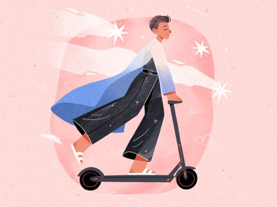 My Summer Friend movement stars scooter 2d procreate digitalart characterdesign texture illustration character