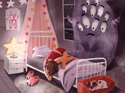 I am More Scared of You childhood monster stars 2d procreate digitalart characterdesign texture illustration character