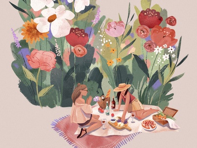 Flower Picnic postcard picnic flowers 2d procreate digitalart texture illustration character