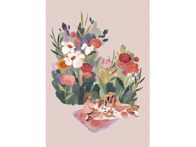 Flower Picnic postcard picnic flowers 2d procreate digitalart texture illustration character