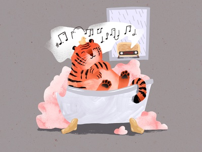 Purrfect Evening bath rain oldradio bathtub tiger characterdesign 2d procreate digitalart texture illustration character