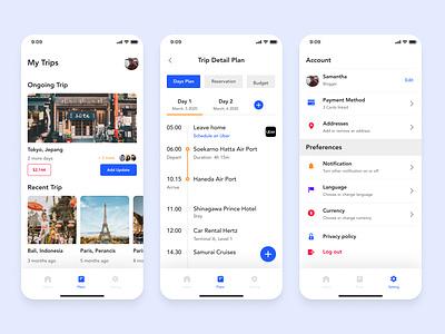Trip Planner App Exploration uidesign mobile ui planner trip travel mobile design mobile app mobile ux ui design