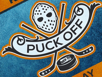 Puck Off textures poster hockey logo