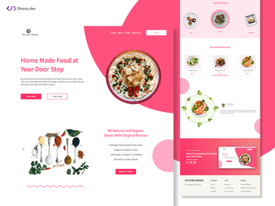 Kitchen Ready(food website) ui web design and development web design web design uidesign