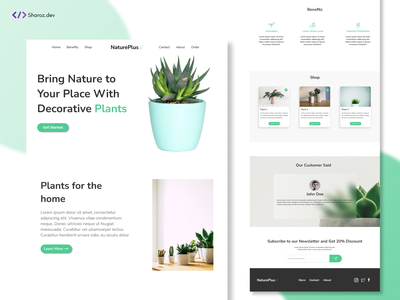 NaturePlus(Plant Website) ecom sell plant nature ui web design and development web design web design uidesign