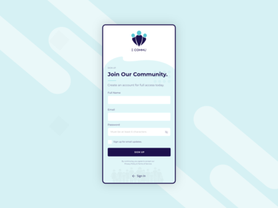 Community Sign Up vector icon typography app design adobe xd photoshop illustration logo minimalist form design mobile uxdesign