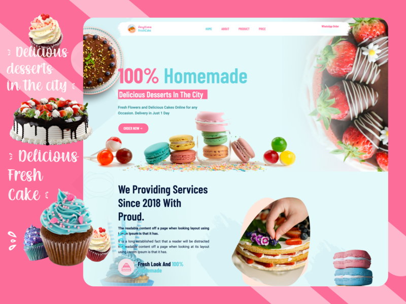 Anytime Fresh Cake html web icon typography branding application logo photoshop adobe xd ux design