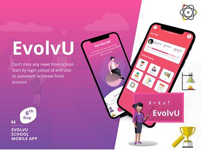 EvolvU School App illustration minimal app design application design schedule student school teaching teacher photoshop adobe xd ux design