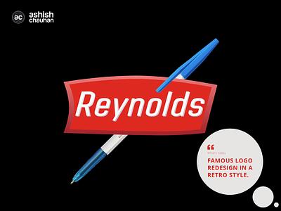 Reynolds Pens Logo branding typography illustration adobe xd photoshop logo retro design retro