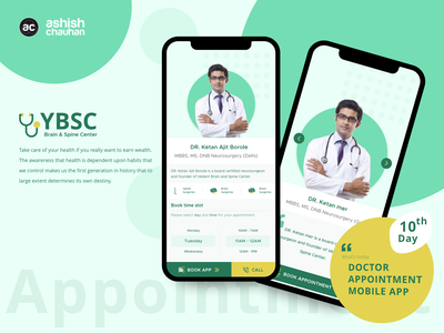 YBSC - Brain & Spine Center app mobile app app logo icon minimal app design illustration branding application design adobe xd ux design