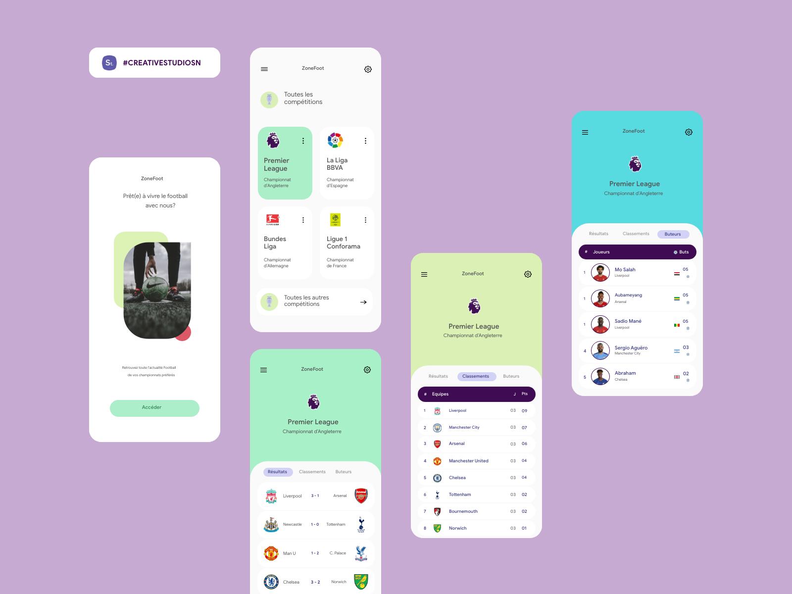 Football App • Creative by Creative Studio SN on Dribbble