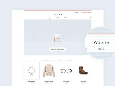 Wäkee template boutique shop ecommerce wordpress minimal clothing free white theme ui flat
